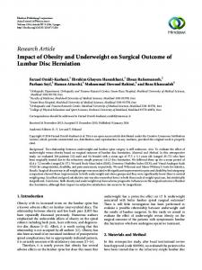 Impact of Obesity and Underweight on Surgical Outcome of Lumbar ...