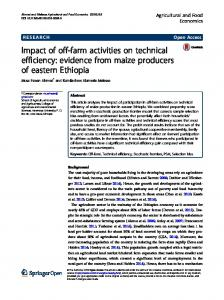 Impact of off-farm activities on technical efficiency - Agricultural and ...