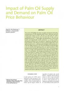 Impact of Palm Oil Supply and Demand on Palm Oil Price Behaviour