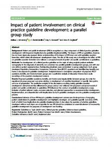 Impact of patient involvement on clinical practice