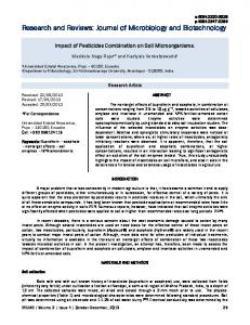Impact of Pesticides Combination on Soil Microorganisms