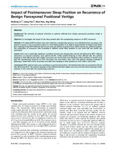 Impact of Postmaneuver Sleep Position on Recurrence of Benign ...