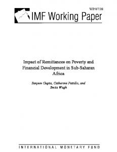 Impact of Remittances on Poverty and Financial Development in ... - IMF