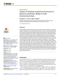 Impact of residual covariance structures on