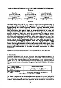 Impact of Security Measures on the Usefulness of Knowledge ... - PACIS