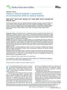 Impact of tailored feedback in assessment of communication skills for ...