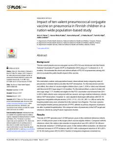 Impact of ten-valent pneumococcal conjugate vaccine on pneumonia ...