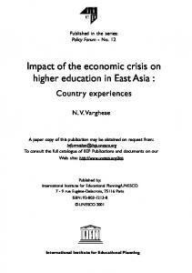 Impact of the economic crisis on higher education - unesdoc, unesco
