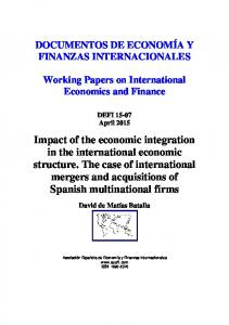 Impact of the economic integration in the international economic ...