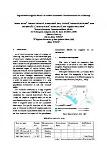 Impact of the Irrigation Water Use on the Groundwater Environment ...