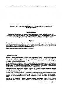 impact of the labor market policies for ensuring employment