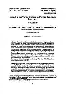 Impact of the Target Culture on Foreign Language Learning - CSCanada