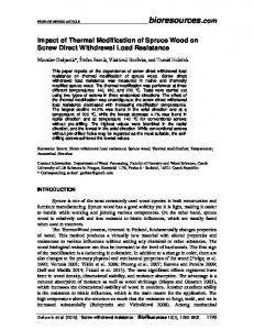 Impact of Thermal Modification of Spruce Wood on Screw Direct ...