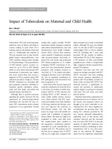 Impact of Tuberculosis on Maternal and Child Health - Oxford Journals