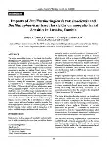 Impacts of Bacillus thuringiensis var. israelensis and Bacillus - AJOL