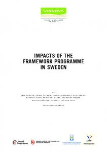 impacts of the framework programme in sweden - European ...