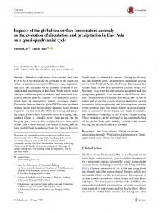 Impacts of the global sea surface temperature anomaly on the