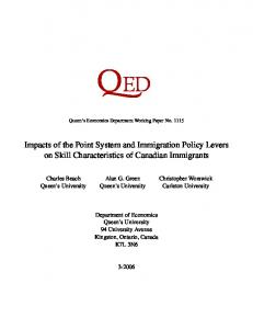 Impacts of the Point System and Immigration Policy Levers ... - CiteSeerX