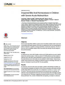 Impaired Bile Acid Homeostasis in Children with Severe Acute ... - PLOS