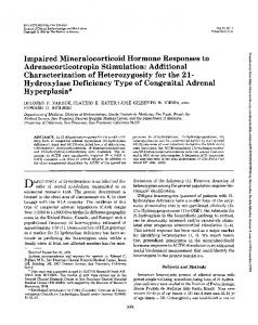 Impaired Mineralocorticoid Hormone Responses to