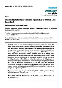 Impaired Sulfate Metabolism and Epigenetics: Is ... - People.csail.mit.edu