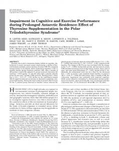 Impairment in Cognitive and Exercise Performance during Prolonged ...