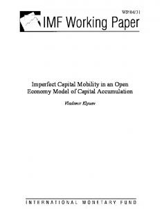 Imperfect Capital Mobility in an Open Economy Model of ... - CiteSeerX