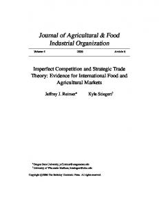 Imperfect Competition and Strategic Trade Theory - Oregon State ...