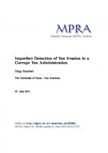 Imperfect Detection of Tax Evasion in a Corrupt Tax ... - Core