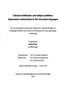 impersonal constructions in the Germanic languages