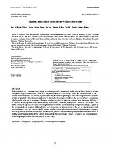 Implant treatment in patients with osteoporosis