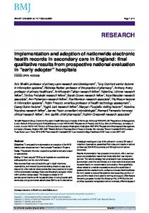 Implementation and adoption of nationwide electronic health records ...