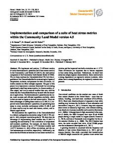 Implementation and comparison of a suite of ... - Geosci. Model Dev.