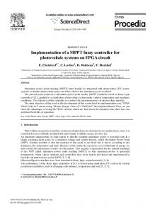 Implementation of a MPPT fuzzy controller for photovoltaic systems on ...