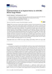 Implementation of an Implicit Solver in ADCIRC Storm Surge ... - MDPI