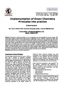 Implementation of Green Chemistry Principles into practice