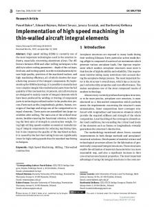 Implementation of high speed machining in thin ...