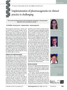 Implementation of pharmacogenetics in clinical ... - Future Medicine