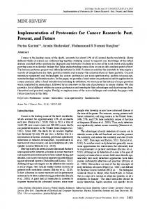 Implementation of Proteomics for Cancer Research: Past, Present, and ...