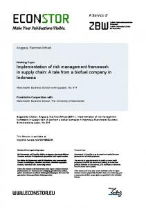 Implementation of Risk Management Framework in Supply Chain:
