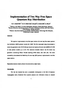 Implementation of Two Way Free Space Quantum Key ... - arXiv