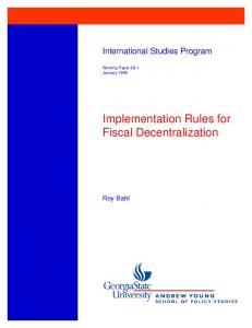 Implementation Rules for Fiscal Decentralization - International Center ...