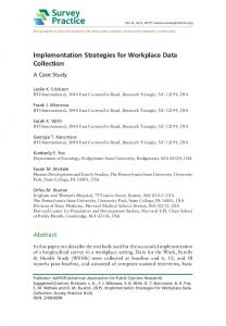 Implementation Strategies for Workplace Data ... - Survey Practice