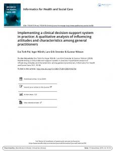 Implementing a clinical decision-support system in practice: A ...