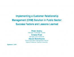 Implementing a Customer Relationship Management (CRM) Solution ...