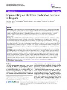 Implementing an electronic medication overview in Belgium - Core
