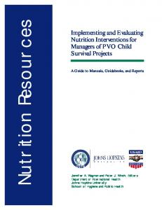 Implementing and Evaluating Nutrition Interventions ...