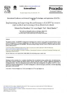 Implementing and Improving the Performance of ... - ScienceDirect