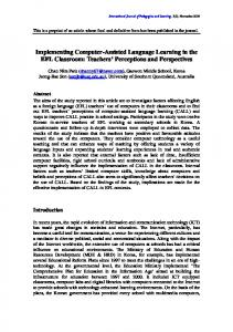 Implementing Computer-Assisted Language Learning in the EFL ...