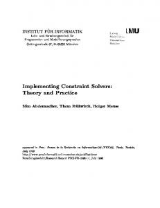 Implementing Constraint Solvers: Theory and